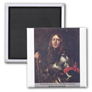 Portrait Of Armed Men With Red Armbands 2 Inch Square Magnet