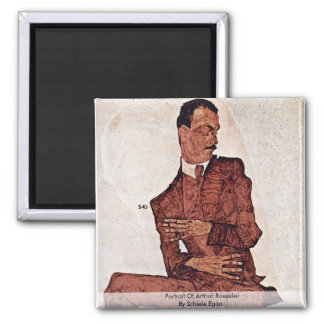 Portrait Of Arthur Roessler By Schiele Egon Fridge Magnets