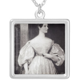 Portrait of Augusta Ada Byron Silver Plated Necklace