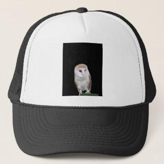 Portrait of barn owl isolated on dark background trucker hat