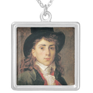 Portrait of Baron Antoine Jean Gros  Aged 20 Silver Plated Necklace