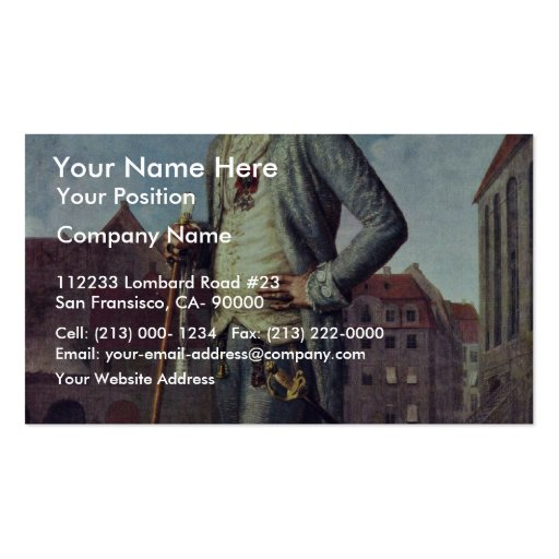 Portrait Of Baron Rohrscheidt By Wilck Johann Carl Business Card Template