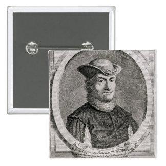Portrait of Baruch or Benedict Spinoza 2 Inch Square Button