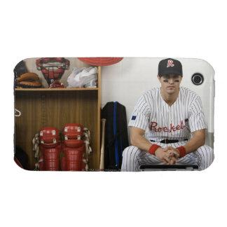 Portrait of baseball player sitting in locker iPhone 3 case