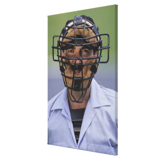 Portrait of baseball umpire wearing protective canvas prints