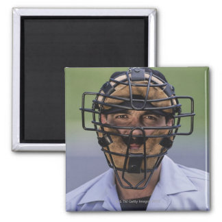 Portrait of baseball umpire wearing protective fridge magnets