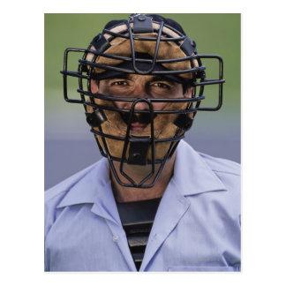 Portrait of baseball umpire wearing protective postcard