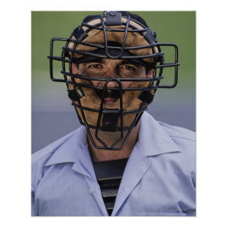 Portrait of baseball umpire wearing protective poster