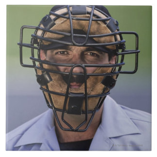Portrait of baseball umpire wearing protective ceramic tiles