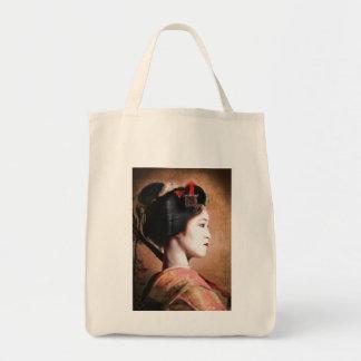 Portrait of beautiful Geisha digital painting Tote Bag