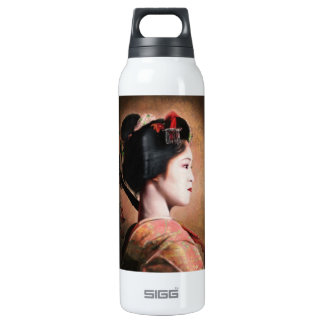 Portrait of beautiful Geisha digital painting 16 Oz Insulated SIGG Thermos Water Bottle