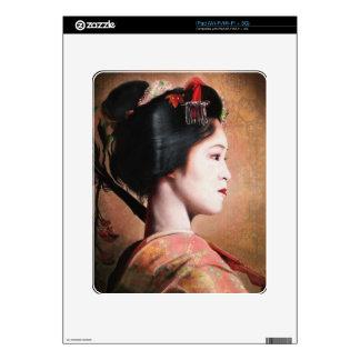 Portrait of beautiful Geisha digital painting iPad Skin