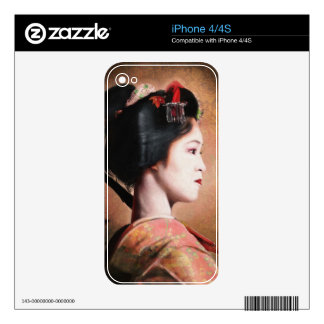 Portrait of beautiful Geisha digital painting Decal For iPhone 4