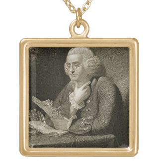 Portrait of Benjamin Franklin, engraved by Thomas Square Pendant Necklace