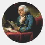 Portrait of Benjamin Franklin Round Stickers