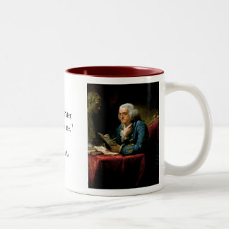 Portrait of Benjamin Franklin with Quote Two-Tone Coffee Mug