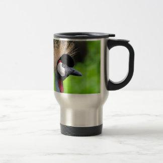 Portrait of Black Crowned Crane Travel Mug