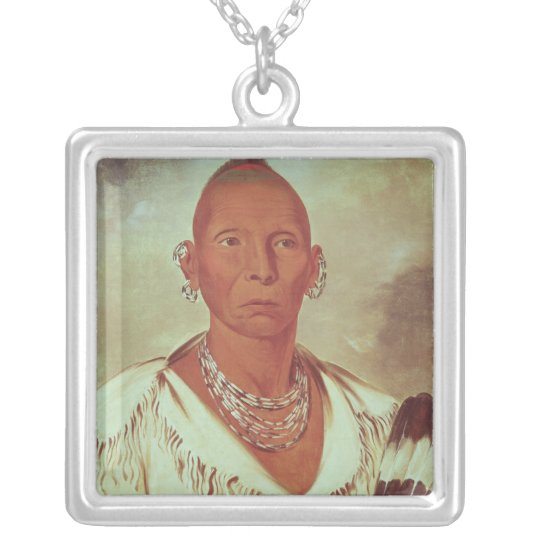 Portrait of Black Hawk, Indian Chief Silver Plated Necklace