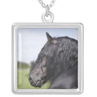 portrait of black horse with long mane square pendant necklace