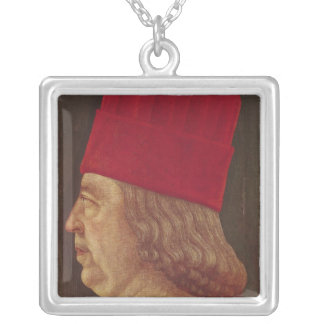 Portrait of Borso d'Este, Prince of Ferrara Silver Plated Necklace