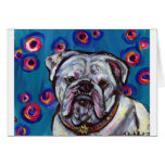 Portrait of Bubbly Bulldog Greeting Card