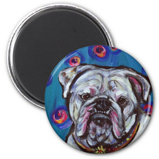 Portrait of Bubbly Bulldog Magnet