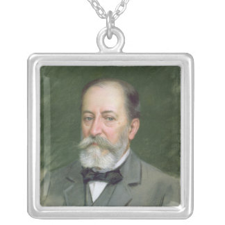 Portrait of Camille Saint-Saens  1903 Silver Plated Necklace