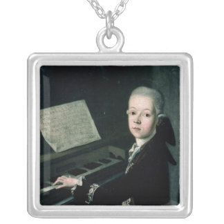 Portrait of Carl Graf Firmian at the piano Square Pendant Necklace