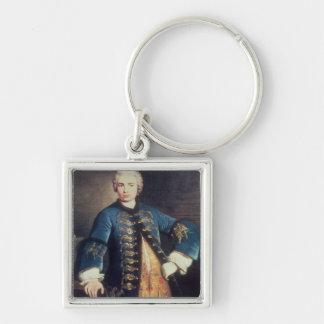 Portrait of Carlo Farinelli, 'Il Ragazzo' Silver-Colored Square Keychain