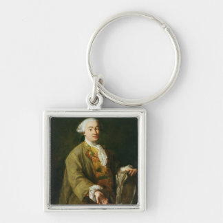 Portrait of Carlo Goldoni Silver-Colored Square Keychain