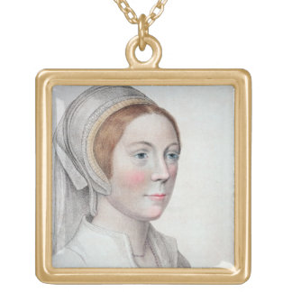 Portrait of Catherine Howard (1520-42) engraved by Square Pendant Necklace
