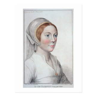 Portrait of Catherine Howard (1520-42) engraved by Postcard