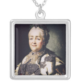 Portrait of Catherine II  of Russia Silver Plated Necklace