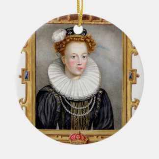 Portrait of Catherine Parr (1512-1548) Sixth Wife Double-Sided Ceramic Round Christmas Ornament