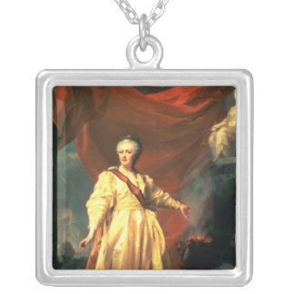 Portrait of Catherine the Great as Lawgiver Square Pendant Necklace