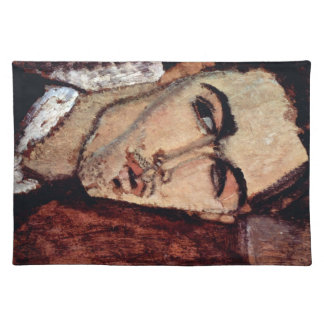 Portrait of Celso Laga by Amedeo Modigliani Cloth Placemat