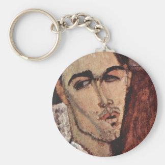 Portrait of Celso Lagar - Amedeo Modigliani Basic Round Button Keychain