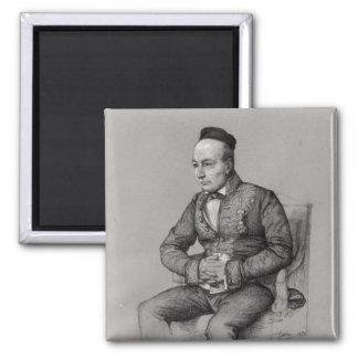 Portrait of Charles Augustin Sainte-Beuve  1856 2 Inch Square Magnet