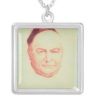 Portrait of Charles Augustin Sainte-Beuve Square Pendant Necklace