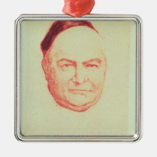 Portrait of Charles Augustin Sainte-Beuve Square Metal Christmas Ornament