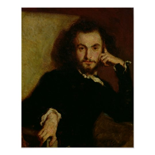 Portrait of Charles Baudelaire  1844 Poster