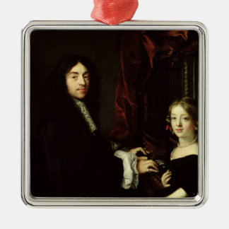 Portrait of Charles Couperin  and the Daughter Metal Ornament