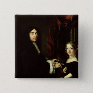 Portrait of Charles Couperin  and the Daughter Pinback Button