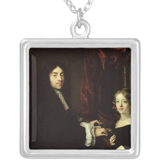 Portrait of Charles Couperin  and the Daughter Silver Plated Necklace