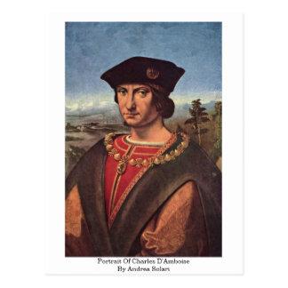 Portrait Of Charles D'Amboise By Andrea Solari Postcard