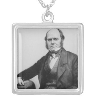 Portrait of Charles Darwin, 1854 Silver Plated Necklace