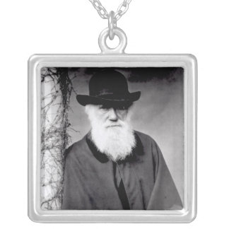 Portrait of Charles Darwin  1881 Silver Plated Necklace