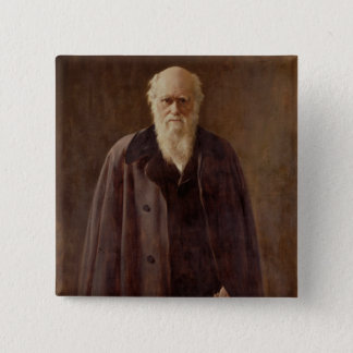 Portrait of Charles Darwin  1883 Button