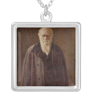 Portrait of Charles Darwin  1883 Silver Plated Necklace