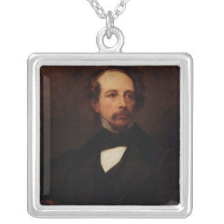 Portrait of Charles Dickens  1855 Square Pendant Necklace